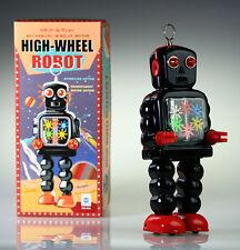 MS436 Tin Robot hoge wiel Robot zwart Vintage reproductie NIEUWE Windup speeltje