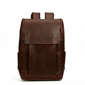 "Men's vintage Leather backpack rucksack bag casual travel school 14"" laptop bags"