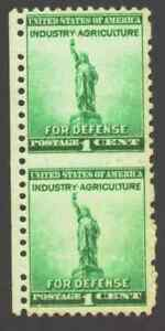 US-899-Statue-of-Liberty-Vertical-Pair-almost-Imperf-Only-3-Half-Hole-RARE