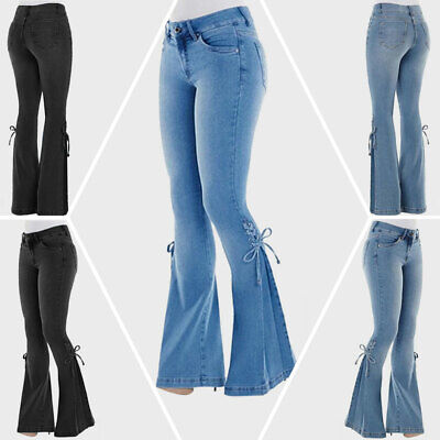 Women High Waist Flare Bell Bottom Jeans Slim Lace Up Sides Wide Leg Denim Pants