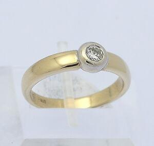 Details zu ♦ Marke Quinn Solitär Ring in aus 585er 14kt Gelb Weiß Gold mit Diamant Brillant