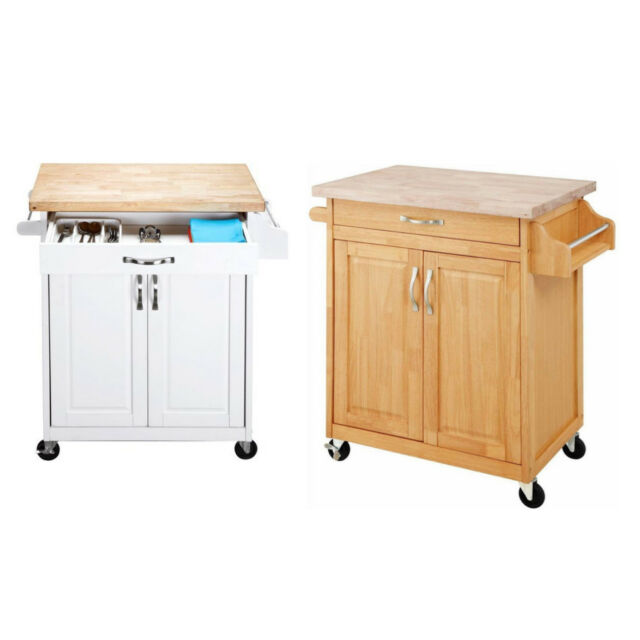 Small Kitchen Cart Island Farmhouse Country Rustic Portable Rolling Table Buffet For Sale Online Ebay