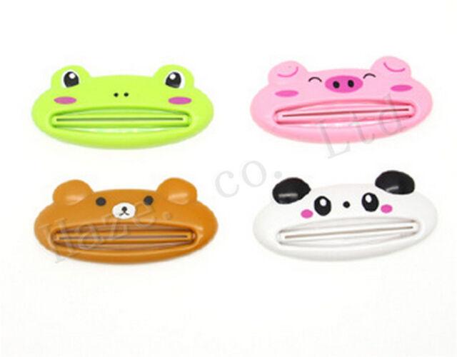 Kids Cartoon Animal Toothpaste Dispenser Cream Rolling Squeezer Bathroom Holder