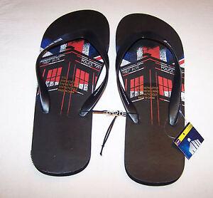 BBC-Doctor-Who-Mens-Tardis-UK-Flag-Black-Printed-Thongs-Size-11-New