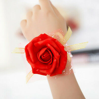 1PCS Bridesmaid Wrist Corsage Wedding Party Rose Bracelet Silk Flowers Ribbon WK