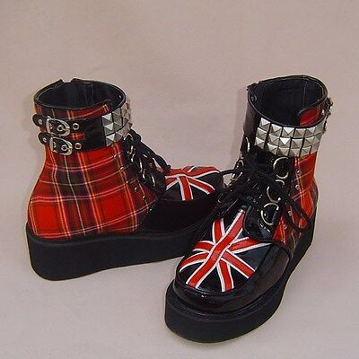 england punk gothic lolita stiefel boots Shoes Schuhe rock metal new flagge EMO