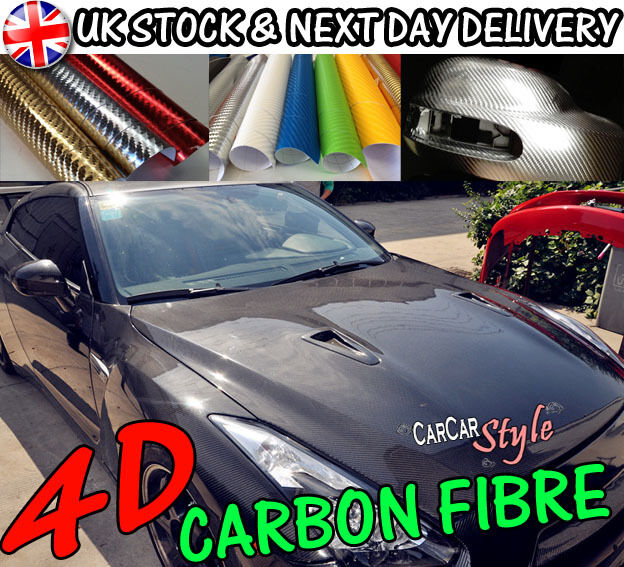 NEW 4D GLOSS【AIR Free Carbon Fibre Vinyl】Wrap TextuROT 4 CAR ALL SIZE/ALL COLOUR