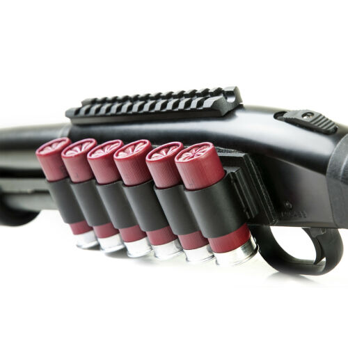 NEW NcSTAR Universal Shotgun 12ga 4 or 6 Shot Shell Black Aluminum Side Saddle