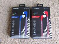 Brand Vivitar Led Light Up Stereo Earphones Red/blue