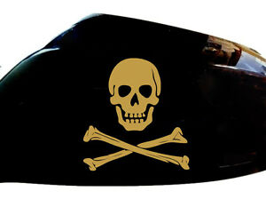 Skull-and-Crossbones-Car-Stickers-Wing-Mirror-Styling-Decals-Set-of-2-Gold