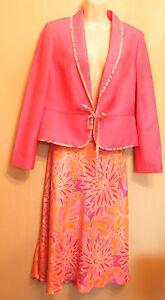 Mutig Monsoon Occasionwear üPpiges Design Pink Silk/linen Jacket And Silk Skirt uk14 / Eu42
