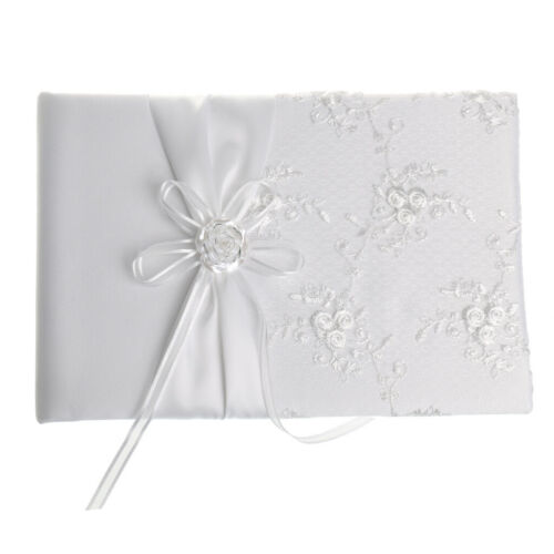 Weißer Satin Hochzeit GÄSTEBUCH Hochzeitsgruß Signaturen