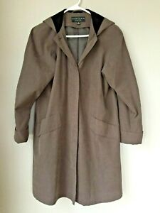 Gallery-Petite-Plus-Womens-Brown-Hood-Button-Down-Coat-Size-PP
