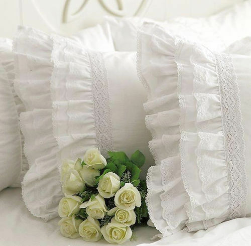 Shabby Chic Multi-Ruffles Edge Lace Pillowcase Slip Cover White Cotton Matching