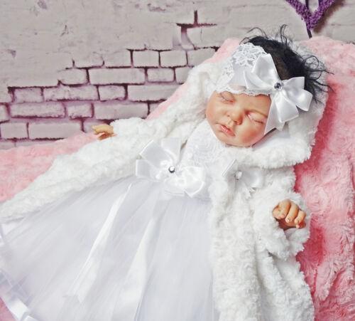 Taufe Babykleid weiss  ❤️Neuheit 2019 ❤️ Festkleid Taufkleid,Stirnband,Mantel