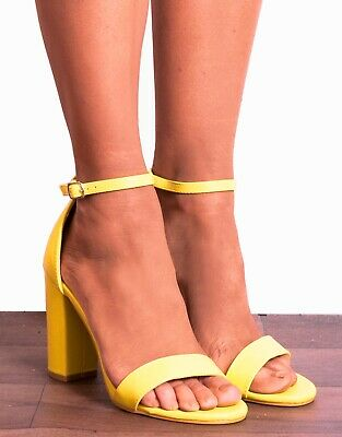 Giallo Blocco Cinturino Alla Caviglia Con Tacco Alto Tacchi Sandali Peep Toes Taglia 3 4 5-