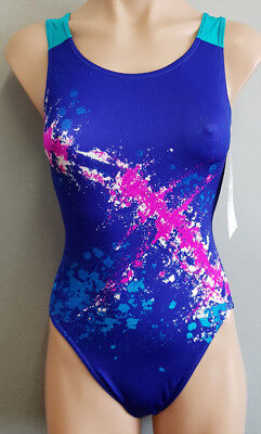 BNWT Ladies Sz 14 Eyeline Brand Navy Angle Stripes One Piece Bather Swim Suit