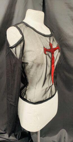 Raven Gothic Black Mesh Top Red Velvet Cross Cut Out Shoulder   10//12
