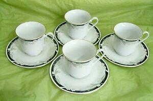 8 pcs/4 SET CROWN MING FINE CHINA JIAN SHIANG MICHELLE COFFEE TEA CUPS & SAUCERS