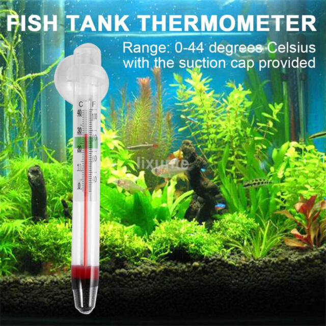New Glass Meter Aquarium Fish Tank Water Temperature Thermometer Suction Cup CA