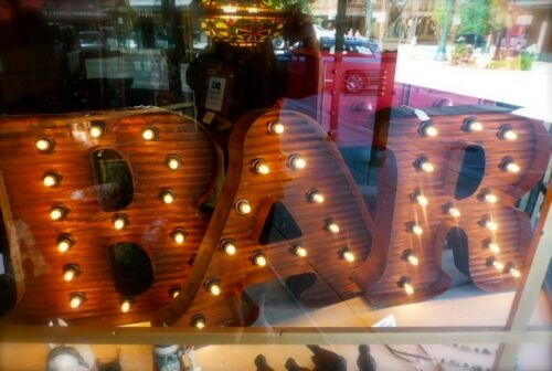 """24/"""" TALL novelty metal sign LG BROWN VINTAGE STYLE LIGHT UP MARQUEE LETTER P"""