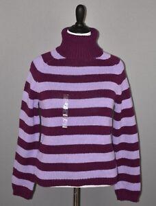 IZOD-Women-039-s-Merlot-Lavender-Striped-Chunky-Turtleneck-Sweater-Large-NEW