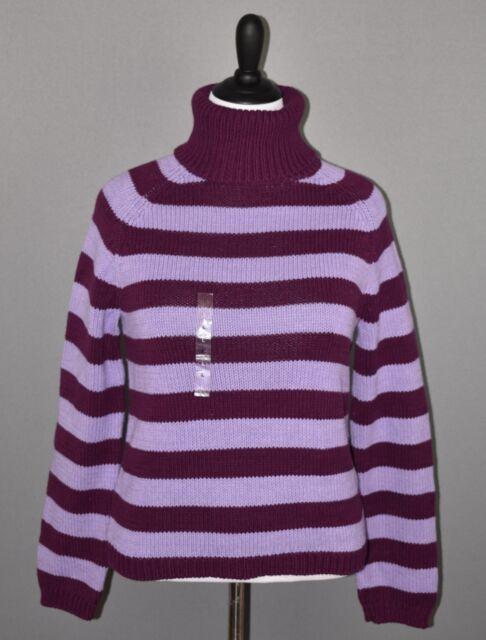 IZOD Women's Merlot Lavender Striped Chunky Turtleneck Sweater Large NEW