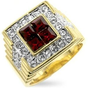 14K-GOLD-EP-5-0CT-DIAMOND-SIMULATED-RUBY-MENS-DRESS-RING-size-9-14-YOU-CHOOSE