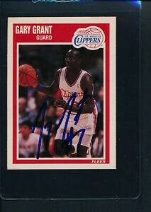 1989/90 Fleer #70 Gary Grant LA Clippers Signed Auto *54077