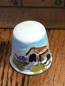Thimble Ceramic Hand Painted Covered Bridge