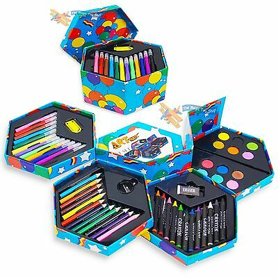 Childrens 52 Pcs Craft Art Artists Set Hexagonal Box Crayons Paints Pens Pencils