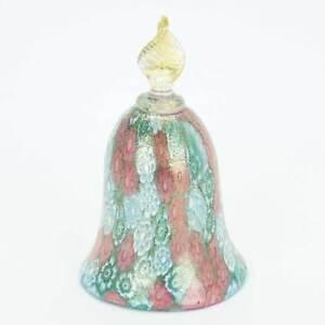 GlassOfVenice Murano Glass Golden Quilt Aqua Millefiori Bell