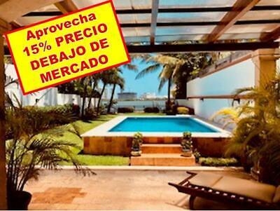 Casa en Venta 4 Recámaras   Estudio TV con Frente a la Laguna en ZH, Club Golf Pok Ta Pok, Cancún.