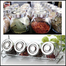 3 x 4 ERMETICO rotonda Spice BARATTOLI CONTENITORE ERBA VINTAGE Preserver cucina Storage