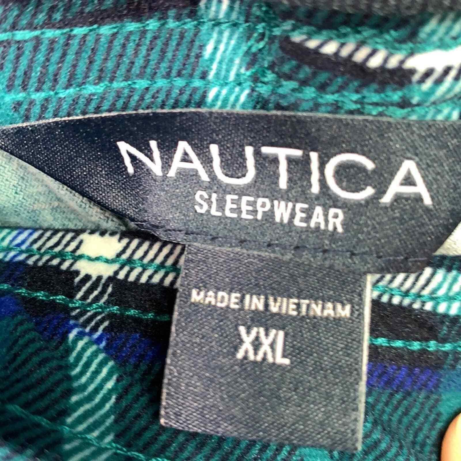 Nautica Sleepwear Mens Navy and Green Plaid Sleep… - image 5