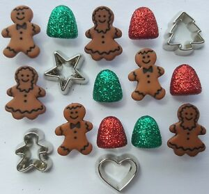 Christmas Embellishments Dress It Up Buttons Galore Gingerbread Cookies 4773
