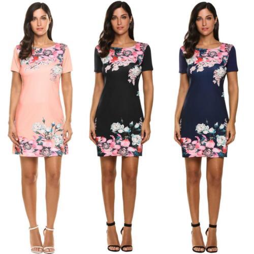 Frauen kurze Ärmel Blumendruck schlanke passen lässige Kleidung zac 02