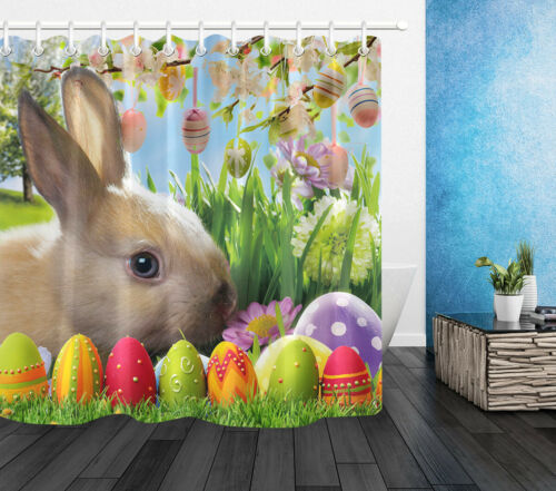 Flowers Branches Hanging Easter Eggs Cute Bunny Fabric Shower Curtain Set 72x72/""