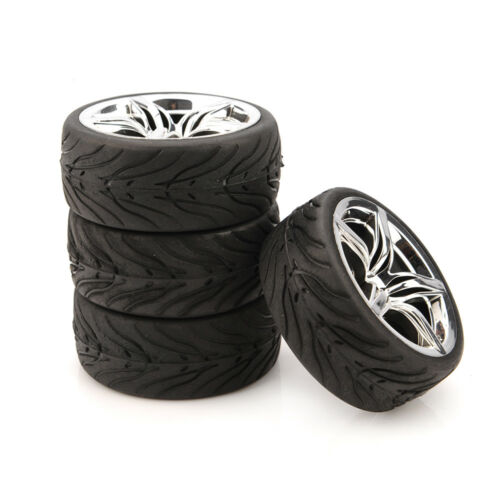 4pcs Rubber Tires /& Wheel Rim Tyres 12mm Hex For 1//10 RC Racing On Road 12FC Car