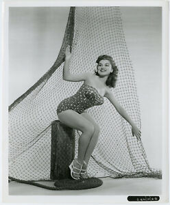 Pin-Up Debra Paget Caught in Sailor's Net Original Frank Worth Photograph 1950s