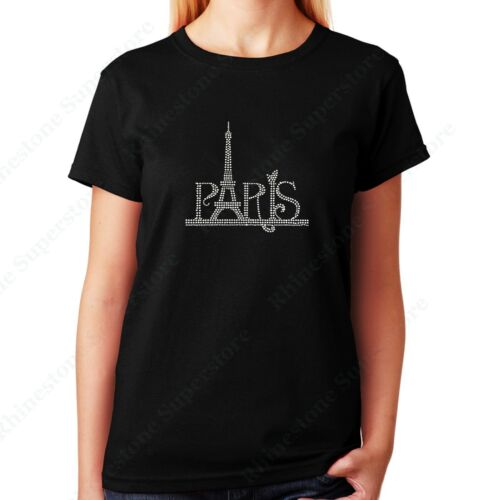 """Womens // Unisex Rhinestone T-shirt /"""" Paris Eiffel Tower /"""" in S M 2X L 3X XL"""