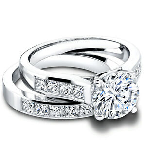 2.20 Ct Round Moissanite Band Set 14K Solid White Gold Anniversary Ring Size 8 9
