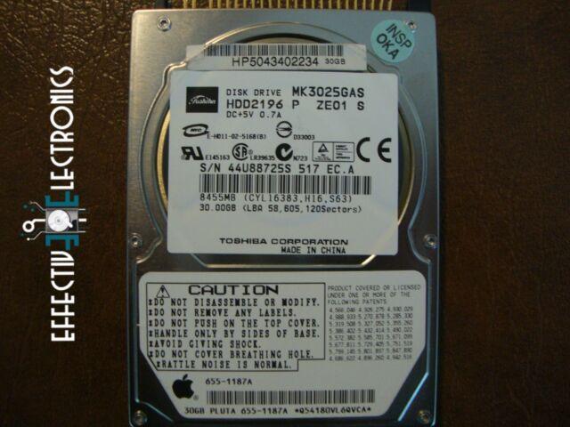 "Toshiba MK3025GAS HDD2196 P ZE01 S (Apple# 655-1187A) G01 A0/KA300B 2.5"" IDE/ATA"