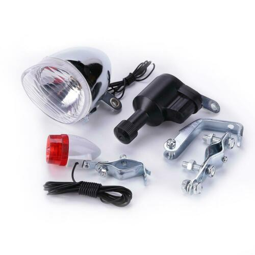 Bike Bicycle Motorized Friction Generator Dynamo Head Tail Light Cycle Acessorry