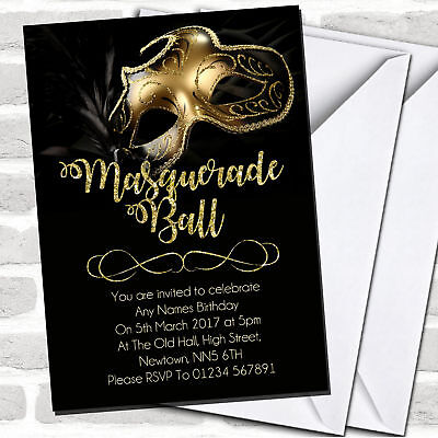 Golden Glitter Mask Masquerade Ball Party Invitations