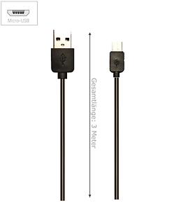 3-Meter-Micro-USB-USB-Ladekabel-black-fuer-Samsung-LG-Android-schwarz-3m