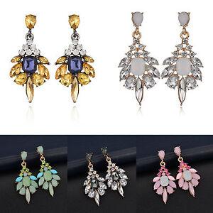 Fashion-Women-Rhinestone-Resin-Crystal-Flower-Ear-Stud-Eardrop-Earring-Jewelry