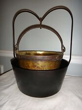 18th Century Double Boiler Cast Wrought Iron Heart Handle Pot Pan Skillet Kettle