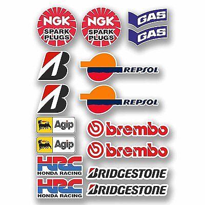 A4 Sheet 16 x Motorbike Stickers Decals Tank Belly Pan Tool Box Biker #9758