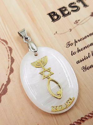Unique Messianic Star of David Menorah Fish Pearl Sea Shell Pendant Handmade Jerusalem